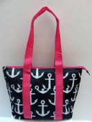 Good Bag Insulated Lunch Bag Portable Carry Storage Lunch Tote Bag - Anchors Black - Pink