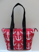 Good Bag Insulated Lunch Bag Portable Carry Storage Lunch Tote Bag - Anchors Pink -Black