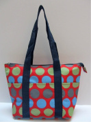 Good Bag Insulated Lunch Bag Portable Carry Storage Lunch Tote Bag - Blue-Grey-Green Dots with Red