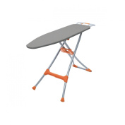 Homz Durabilt DX1500 Premium Ironing Board with Wide Leg Stability and Adjustable up to 100cm , Grey and Orange