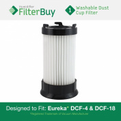 Eureka DCF-4 (DCF4) DCF-18 (DCF18) & GE DCF-1 (DCF1) Washable and Reusable Dust Cup Filter. Designed by FilterBuy to Replace Eureka Part # 62132.
