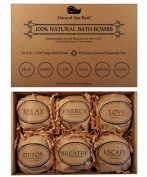 Natural Bath Bombs Gift Set - 6 Extra Large, 2 3/4 180ml Aromatherapy and Wellness Blends by Natural Spa Bath
