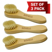 Natural Bristles - Facial Brush Skin Cleansing, Deep Pore Face Cleanser & Exfoliating Set of 3 Pack Wooden Handle - For Men or Women, Face Brushes Exfoliation. Removes Dirt, Make up, Dry Skin Brushing
