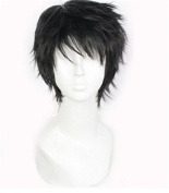 Short Black Men Fluffy Straight Anime Cosplay Wig