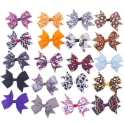Bzybel Boutique Girl's Small 7.6cm - 10cm Grosgrain Ribbon Hair Bow Clips, Barrettes for Baby Shower Gift (20pcs 7.6cm holloween hair bows