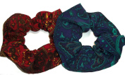 Paisley Silky Fabric Hair Scrunchies Maroon Navy Set of 2 handmade by Scrunchies by Sherry