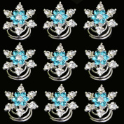 Yantu 12pcs Clear Crystal Blue Crystal Swirl Hair Twists Coils Spirals Hair Pin Clip Accessories