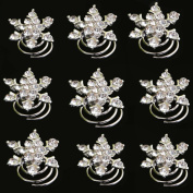 Yantu 12pcs Clear Crystal Snowflake Swirl Hair Twists Coils Spirals Hair Pin Clip Accessories
