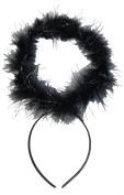 Black Feather + Silver Tinsel Dark Angel Fancy Dress Halo Head Band Halloween