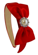 Simple Satin Bow Christmas Red Arch Headband with Jewelled Pearl
