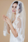 Venus Bridal Wedding Veil for Bride with Lace Edge and Comb Attached