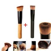 Beety 2pcs Premium Brushes - Black Professional Face Concave Liquid Foundation Makeup Brush + Cosmetic Makeup Foundation Powder Brush Angled Professional Tool