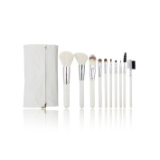 AMarkUp 10 Pcs Professional Women Makeup Cosmetics Brushes Set Kits White with Leather Bag