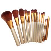 Chinatera 12Pcs Luxury Gold Cosmetic Makeup Brushes Set Foundation Eyeshadow Blending Blush Eyeliner Face Contour Brushes, Goat Hair