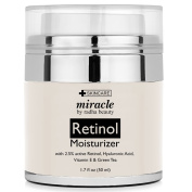Miracle Retinol Moisturiser cream for face - with 2.5% retinol, hyaluronic acid and jojoba oil. Best night and day moisturising cream 50ml