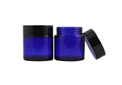 1.7 oz 50ml Cobalt Blue Glass Empty Cosmetic Containers Jars Black Lid 4pcs