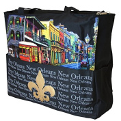 Black French Quarter & Gold Fleur de Lis Tote Bag