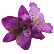 1PC Womens Wedding Bridal Orchid Flower Leopard Hair Clip Barrette Hair Dress Hot : purple