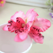 1PC Womens Wedding Bridal Orchid Flower Leopard Hair Clip Barrette Hair Dress Hot : pink