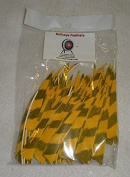 Bullseye Feathers 10cm RWSC Barred Yellow Pkg/100
