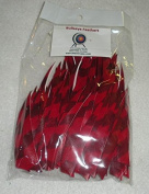 Bullseye Feathers 10cm RWSC Barred Red Pkg/100