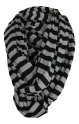 Breastfeeding Cover Infinity Nursing Scarf - Black / Grey Stripe Pattern - Many Colours and Patterns of Breastfeeding Scarves - Tykes & Tails Baby Nursing Cover / Breastfeeding Scarf