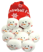 Snowball Fight, 10 Plush Snowmen Balls in a Red Bag, Snowball Fun, Indoor Play