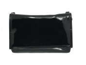 Loni Womens Delightful Clutch/Shoulder/Crossbody/Wristlet Bag Size Small in black faux patent leather