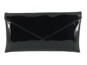 Loni Womens Neat Envelope Faux Leather Patent Clutch Bag/Shoulder Bag