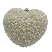 Kingluck Heart Pearl Pave Hard Case Evening Clutch Handbag Purse for Women with Detachable Chains
