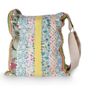 Embellished cotton shoulder bag, 'Garden Path'