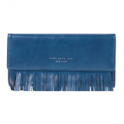 Damara Womens PU Wallet Fringed Covered Snap Trifold Cards Purse