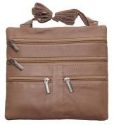 Women's Cross Body Bag 18cm X 18cm Beige By Ag Wallets New