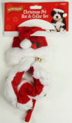 Toy Small Dog Christmas Santa Hat & Collar Set Jingle Bells Xmas Pet