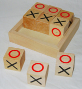 NEW TRADITIONAL WOODEN NOUGHTS AND CROSSES TIC TAC TOE BLOCKS RETRO BOXED ACK