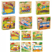 DreamFlying 9 Piece Wooden Jigsaw Cube Puzzle Toy - Transportation Steamship Tractor Aircraft Excavator Car Ambulance