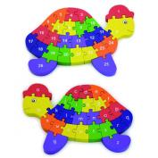 Viga 2 in 1 Wooden 3D Alphabet & Numbers Turtle Puzzle