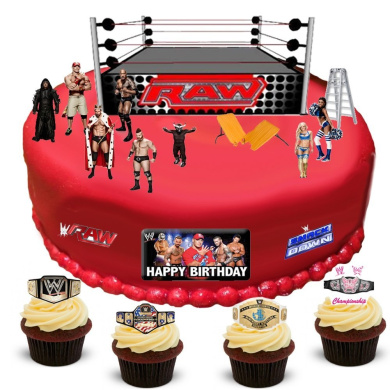 Wwe Wrestling Happy Birthday Stand Up Scene Premium Edible