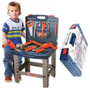 Kids 69 Piece Toy Tool Kit Play Set Folding Work Bench Workshop with Drill Portable Pretend Play Kids Play Set