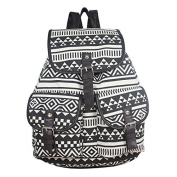 Mytom Retro Lady Girls Ethnic Versatile Canvas Satchel Backpack Casual Bag Leisure Schoolbag
