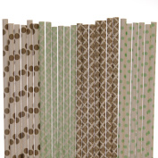 Gold and Mint Paper Straw Mix - Polka Dot, Damask