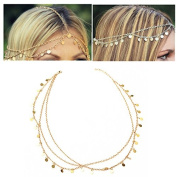Chic Gold Multilayer Sequin Head Chain Forhead Headpiece Headband by 24/7 store