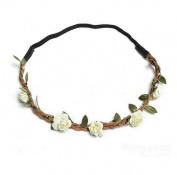 White Boho Garland Weave Wreaths Wedding Beach Floral Elastic Hairband by 24/7 store