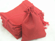 50pcs 9.3x13.5cm Red Hemp/hessian Bags, Jewellery Pouches, Wedding Favours, Jewellery Packing, Gift Bags