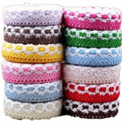 KitMax (TM) Pack of 4 Pcs Colourful DIY Stationery Making Sticker Lace Fabric Tapes Gift for Students Children, Colour May Vary