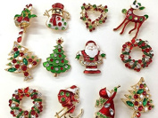 NEW Set of 12 Vintage Inspired Christmas Gold Brooch Lot/ Holiday Brooch / Christmas Tree/ Snowman/ Xmas Pin Lot / Party Favour/