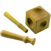 Hobby & Craft Wooden 5.1cm Cube Metalworking and Jewellery Making 6 Dome Dapping Block with Shaping Tools