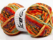 Lot of 4 x 100gr Skeins Mystique Yellow Purple Orange Mint Green