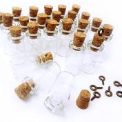 LEFV™ 100 Mini Glass Bottles 2.5cm Message Treasure Charm Pendant Kit Makes Bottle Pendants
