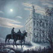 Oil Painting Print of LDS Nauvoo Temple -11x11, Painted by Stewart Huntington
